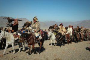 eagle hunters parad on golden eagle festival